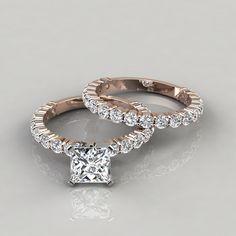 Princess Cut Engagement Rings, Engagement Wedding Ring Sets, Wedding Band Sets, Diamond Engagement Rings, Gem Diamonds, Natural Diamonds, Moissanite Diamonds, Or Rose, Rose Gold