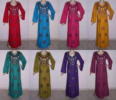 Egyptian Cotton Embroidered Kaftan Caftan Jilbab Arabic Dress Abaya #KS