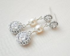 CZ Bridal Earrings Pearl Drop Wedding Earrings by SarahWalshBridal