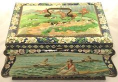 antique soccer tennis rowing hunting and bobsleighing dutch biscuit tin 1910