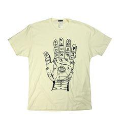 T-shirt Palm Reader (cream) by DEEP ANTIQUITY