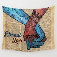 Holding Hands,Eternal Love,Space Dictionary Art Wall Tapestry