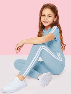 Shop Girls Stripe Side Ribbed Knit Hoodie and Pants Set online. SheIn offers Girls Stripe Side Ribbed Knit Hoodie and Pants Set & more to fit your fashionable needs. Preteen Girls Fashion, Girls Fashion Clothes, Kids Outfits Girls, Cute Girl Outfits, Cute Outfits For Kids, Fashion Kids, Fashion Outfits, Trendy Clothing, Kids Girls