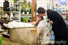 This adorable couple shot some of their wedding photos at our store, now that is a #HomeGoodsWedding - Repin to win!