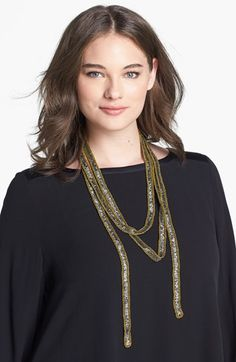 """Eileen Fisher Embellished Necklace Scarf 