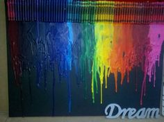My Melted crayon painting (melted crayon,art,dream,pretty,rainbow) Crayon Crafts, Canvas Crafts, Canvas Art, Crayon Ideas, Fun Crafts, Diy And Crafts, Arts And Crafts, Art Crayola, Crayon Painting