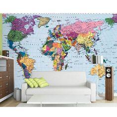 Maak een wereldreis in je dromen. Met dit fotobehang aan de muur van je slaapkamer help je je fantasie alvast een eindje op weg. Het is ook een leerzaam behang voor op de kinderkamer.