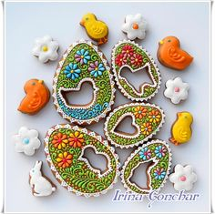 Easter Egg Cookies | by Irina Gonchar via Cookie Connection ~ *no recipe, pinning for the intricate deco & interesting punch-out style