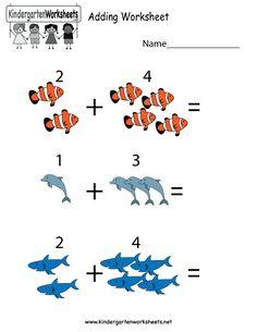 Kindergarten Adding Worksheet Printable