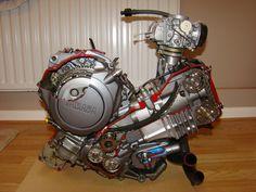 Cutaway pre production Yamaha XTZ 750 motorbike engine, right hand side