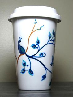 Painted Travel Coffee Mug Peacock EcoFriendly by PrettyMyDrink, $38.00