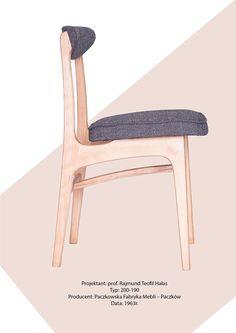 Krzesło 200-190 Rajmund Teofil Hałas Lekka Furniture Chair, midcentury design