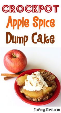 This easy Crock Pot Apple Spice Dump Cake Recipe captures the cozy flavors of Fall, and makes the perfect ending to any day! Just dump it in and walk away! Slow Cooker Recipes Dessert, Crock Pot Desserts, Crockpot Dishes, Crock Pot Cooking, Delicious Desserts, Cooking Recipes, Crockpot Meals, Crock Pot Dump Meals, Crock Pots
