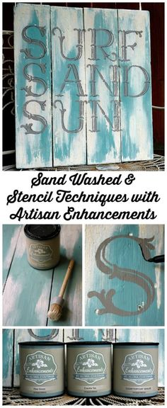 Sand Washed and Stenciled Sign Tutorial on The Artisan Enhancements Blog! Project Features Fine Stone, Crackle Tex, Vintage Alphabet Stencils and Exterior Grade Clear Topcoat Sealer by Artisan Enhancements!