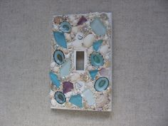 Seaglass and Seashell Light Switch Plate Cover - Single switchplate Aqua…