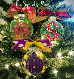 Monogrammed/Personalized Glass Christmas Ornament - Burlap Bow