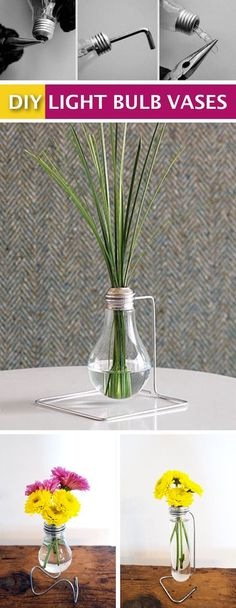 DIY light bulb vase tutorial. -- Easy DIY craft ideas for adults for the home, for fun, for gifts, to sell and more! Some of these would be perfect for Christmas or other holidays. A lot of awesome projects here! Listotic.com Diy Luz, Diy Projects For Adults, Light Bulb Vase, Diy Locker, Unicorn Ornaments, Easy Crafts To Make, Martha Stewart Crafts, Diy Headboards, Adult Crafts