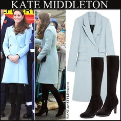WHAT SHE WORE: Kate Middleton in light blue double breasted coat ...
