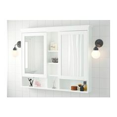 "Potentially on wall between shower and vanity, depending on space and whether it would impede access to sink Depth: 6 1/4 "" Height: 38 5/8 "" Width: 47 1/4 ""  http://www.ikea.com/us/en/catalog/products/00298741/"