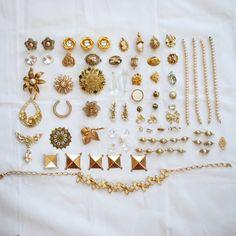 SALE - 20% OFF all jewelry Destash. This one is Golden Destash, broken vintage jewelry lot, craft repurpose