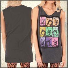 ad67411011909 Details about Iron Fist Mugshot Laughing Unicorn Pop Art Womens Long Tank  Top Black Rave NEW