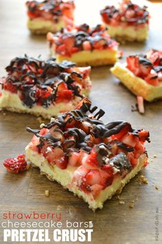 Strawberry Cheesecake Bars with Pretzel Crust