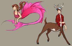 Gravity Falls-- Mabel is a mermaid, and Dipper is. A centaur deer thing. Dipper E Mabel, Mabel Pines, Monster Falls, Desenhos Gravity Falls, Gravity Falls Fan Art, Grabity Falls, Pinturas Disney, Reverse Falls, Billdip