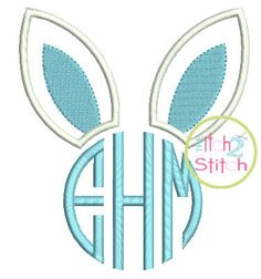 """Bunny Ears Monogram Applique Design For Machine Embroidery shown with our """"Natural Circle"""" Font NOT Included  INSTANT DOWNLOAD now available"""