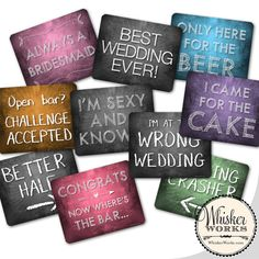 Plastic Photo Booth Phrases  WEDDING MIX  Set of 5 by WhiskerWorks