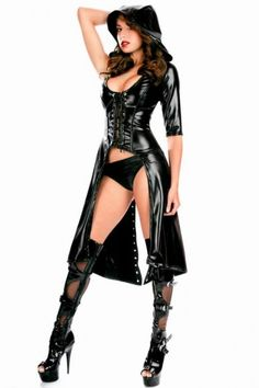 Gothic Punk Wetlook Hooded Gown Fancy Dress Costume