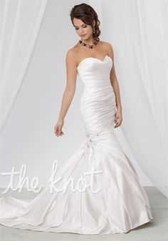 Gown available with lace-up or zipper back.  Silhouette: Fit-N-Flare Neckline: Strapless, Sweetheart Gown Length: Floor Train Style: Attached Train Length: Semi-Cathedral Fabric: Satin Color: White or Diamond