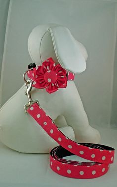 Dog Collar with Flower or Bow Tie and Leash  by LearnedStitchworks, $32.00. Click on her link to find numerous patterns, including chevron.