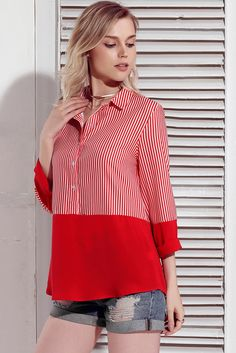 Color Block Red Relaxed Boyfriend Shirt In Frock Fashion, Collor, Collar Designs, Tailored Shirts, Boyfriend Shirt, Western Outfits, International Fashion, Blouse Styles, Thumb Painting