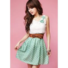 $9.04 New Korean Fashion Style Polka Dot Sweet Lovely Mini Dress Orange/Green Lace Top