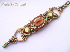 Soutache Barecelet Tutorial Soutache Embroidered bracelet tutorial mint and Brown in English