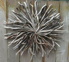 Recycled Driftwood Art Wall Sculpture Hand Made Rustic Beach Art Cottage Home Decor