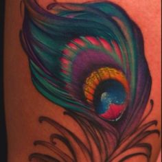 peacock feather tattoos.. Love the colour and design, maybe smaller and on my calf