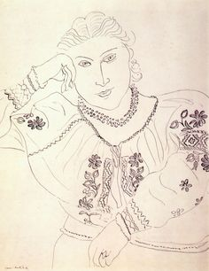 Woman in Embroidered Blouse with Necklaceby Henri Matisse, 1936