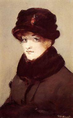 Woman in Furs, Portrait of Mery Laurent : Edouard Manet : Museum Art Images : Museuma
