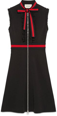 Shop the Jersey dress with Web trim by Gucci. A fitted jersey sleeveless dress with ruffle detailing, the dress is further enhanced by knitted Web trim on the waistband and on the neckline knotted into a decorative bow. Day Dresses, Dress Outfits, Casual Dresses, Work Outfits, Dior, Gucci Dress, How To Wear Scarves, Luxury Dress, Celebrity Outfits