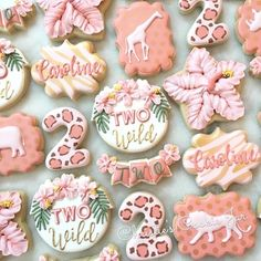 🦒🦏Caroline is TWO wild!🐅🐘 I was so honored to make this cutie's birthday cookies again this year! *****I'm currently working on Valentine's… 2nd Birthday Party For Girl, Second Birthday Ideas, Safari Birthday Party, Girl Birthday Themes, First Birthday Cookies, Birthday Cakes, Geek Birthday, One Year Birthday, Rodjendanske Torte