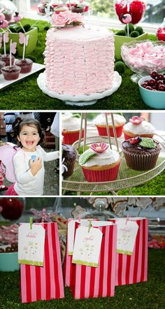 Garden Party: Ruffle tower cake and candy bags with butterfly garden ...