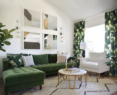 A nice-looking living room featuring a green L-shape sofa along with green window curtains surrounded by white walls. Living Room Green, Green Rooms, White Rooms, Living Room Sofa, Home Living Room, Living Room Decor, Living Room White Walls, L Shaped Living Room, Green Interior Design