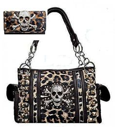 Brown Leopard Print Skull Concealed Purse W Matching Wallet In Stock $84.99