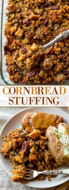 Make this delicious cornbread stuffing ahead of time! The most flavorful blend of ingredients and herbs for Thanksgiving dinner. Recipe on sallysbakingaddiction.com