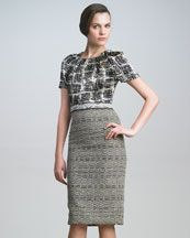 Carolina Herrera Tweed Combo Dress