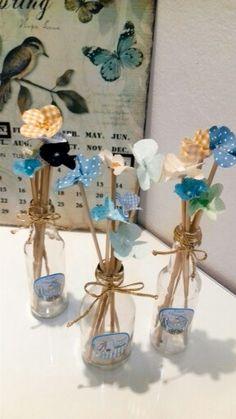 Garrafas decoradas para Chá de Fraldas . RR& Artes