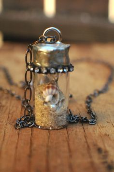 Beach in a bottle necklace with real shells and pearl. by nohnahme, $45.00