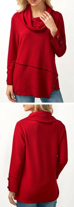 top, red top, top outfits, long sleeve outfits, cowl neck outfits, top for women, womens top, tops, fall top, winter top, cotton top, casual top, tops outfits, fall fashion, womens outfits, free shipping worldwide at Rosewe.com.
