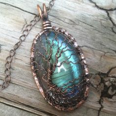 Flashy Peacock Teal Labradorite Copper Wire Wrapped Tree of Life | DesignsinCopper - Jewelry on ArtFire